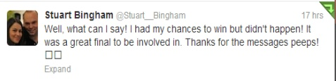 Stuart Bingham's Tweet after the Welsh Open final.